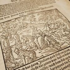 1560s COSMOGRAPHIA Munster WOMAN ON HORSEBACK Woodcut INCUNABLE Leaf ORIGINAL