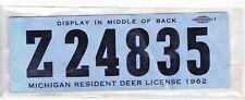 1962 Michigan Resident Deer License-Back Tag-1962