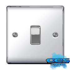 BG Nexus NPC12 Polished/Mirror Chrome Single Light Switch 1 Gang 2 Way