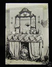 Glass Magic Lantern Slide A RICHLY DECORATED VICTORIAN FIREPLACE C1900
