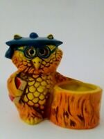 VTG Retro Ceramic Professor Owl Votive Candle Holder Tree Stump  70s Japan
