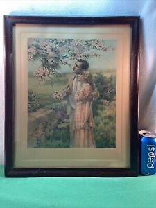 Vtg 1920-30's HOME BUILDERS Young Couple LOVE Bluebirds CHERRY BLOSSOMS Framed