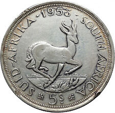 1953 South Africa Queen ELIZABETH II 5 Shillings Silver Coin Springbok i45534