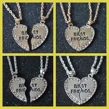 Best Friends Pendant Necklace freindship 2 piece half heart shape BFF chain gift