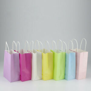 Small kraft paper solid color paper gift bag party handle,Christmas favor bag