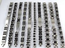 Wholesale NEW 10pcs Men's Stainless Steel Rubber Bracelet Chains Fashion Jewelry