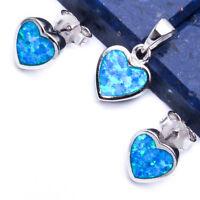 NEW BLUE FIRE OPAL HEART  .925 Sterling Silver Earring & Pendant Set