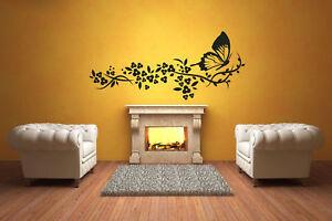 Delicate Flowers & Butterfly Art Wall Sticker Decal Transfer Decor 60cm x 140cm