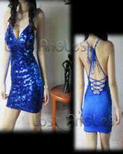 New WOMENS Sexy party backless deep V sequinned CLUB BODYCON DRESS Blue Small
