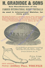 1912 Gradidge Advertisement for Balls & Boots Reproduction Rugby Poster. A2