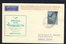 51643) LH FF Germany-Ankara 1.4.61, Sou from Austria SHIP POST R!