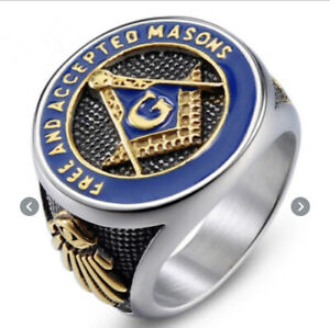 Masonic Ring Freemason Accepted Men Stainless Blue Gold G Square Compass Eye US