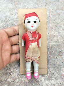 1900's ANTIQUE EARLY ORIGINAL CLOTH COVERED PORCELAIN DOLL TOY, JAPAN