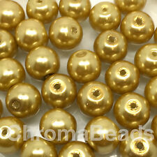 10mm Glass faux Pearls - Gold (40 round beads) jewellery making, craft