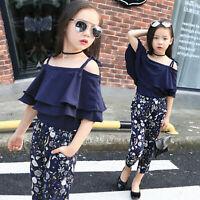Toddler Kids Baby Girl Summer Off Shoulder T-shirt Tops+Floral Pants Outfits Set