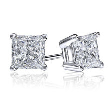 1.50 Ct Princess Cut Earrings Studs Solid 18K White Gold Brilliant Screw Back
