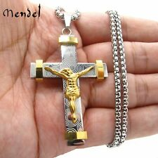 MENDEL Mens Titanium Gold Cross Catholic Crucifix Pendant Necklace For Men Women