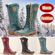 Womens Vintage Lace Up Mid-calf Boots Ladies Winter Combat Leather Shoes Size