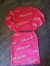 MOSCHINO Women's Sexy Cute Barbie Style Outfit Top + Skirt Logo Letters PINK S-M