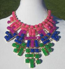 "Kate Spade ""SKYLINE GLOW"" huge bib statement necklace & earrings SET neon colors"