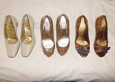 3 Pairs Bruno Magli Amalfi Pelle Leather High Heels Pumps Tan Shoes sz 10 Italy