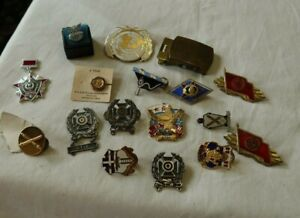 LOT Vintage Military Pins Medals Shooting Sterling Buckle Russian Flags Bars NR