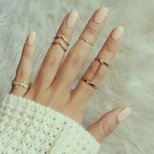 6Pcs Punk Gold Stackable Knuckle Midi Rings Women Finger Ring Set Jewellery Gift