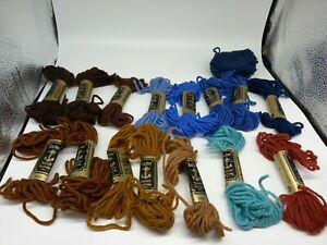 Small Bundle Anchor Tapestry Wool Over 10 Colours Mixed Blues Browns Some Used
