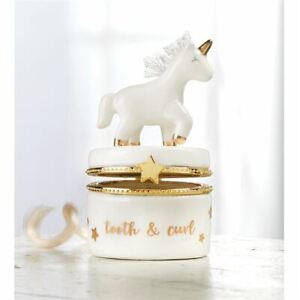 MUD PIE Kid Shoppe UNICORN Tooth & Curl Keepsake Box White Gold Porcelain NWT