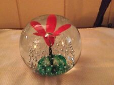 Vintage Signed  HUGE Wheaton Village Orange Green White Flower Pot Paperweight