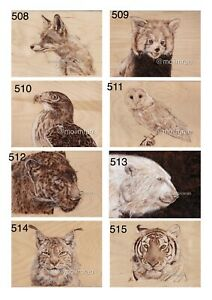 Pyrography Wood Burning Art Collection -Animal Wildlife Limited Edition A3 Print