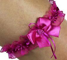 liga rosa con la flor y lazo lazo de satén novia hecho a mano EU