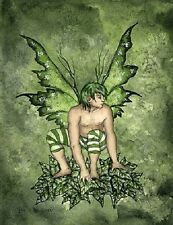Amy Brown Print Fairy Boy Jack of the Green Male Man Guy Ivy Wings Forest Garden