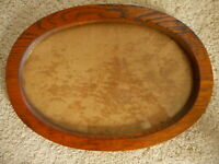"Antique Wood Oval Frame Heavy glass No print Print size 15"" x 10"" ""Not curved"""
