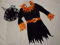 Witches Halloween Dress m. Hat Velvet Witch's Fancy black/orange