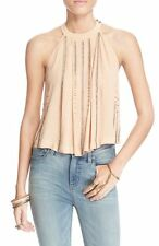 Free People 'Simply Days' Beaded Crop Tank Top Blush Pink Sz S New Crepe 7501