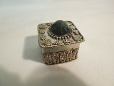 Antique Sterling Silver Trinket Box Stone on Lid Ornate Design Cloth Lined