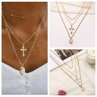 2019 Choker Necklace Gold Pendant Madonna Cross Chain Multi-Layer Women Jewelry