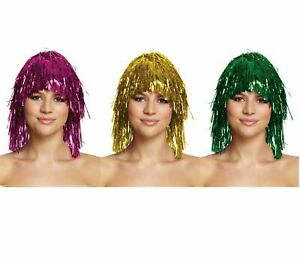 Tinsel Wig Choose From 3 Colours - Fancy Dress Costume Party Hen Night Glitter