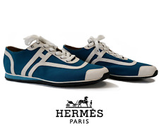 HERMES Kool Cotton & Calfskin Blue/White 10 UK/11 US Men's Trainers Sneakers