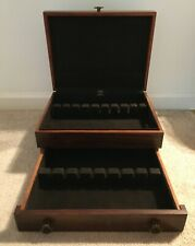 EUREKA Wooden Flatware Storage Chest Anti-Tarnish Lining Vintage
