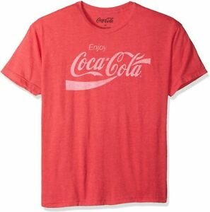 Coca Cola Licensed Distressed Logo Heathered T Shirt - Red