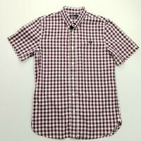 Fred Perry Mens Shirt SMALL Purple Regular Fit Check Cotton