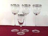 Vintage Double Silver Rimmed Crystal Wine Stem Glasses Goblet Rim Glass Platinum