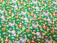 Bunny Fabric on Green with Mushrooms and Easter Eggs Retired Print 1 Yard