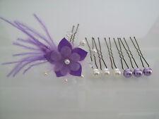 Pic:épingle/bijou Cheveux robe Mariée/Mariage Violet Cristal/Ivoire fleur perles
