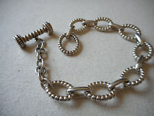 "Sterling Silver Textured Link Toggle 7-3/4"" Bracelet   RE2088"