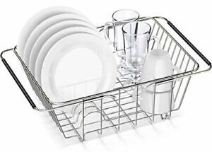 Expandable Dish Drying Rack,  SUS304 Stainless Steel Dish Drainer with Silver