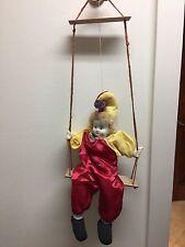 "Vintage RARE 22"" Porcelain Face Clown Jester on a Wooden Swing"