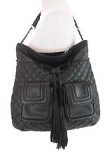 Big Buddha Black Quilted Faux Leather Tassel Bucket Hobo Handbag Bag Purse